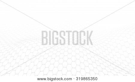 Wave With Connecting Dots And Lines On White Background. Vector Abstract Hexagon Background.