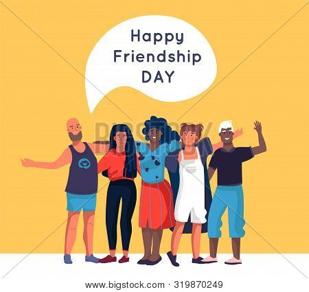 Friendship. Happy Friends Standing Together And Hugging, Cartoon Diverse People Group. Vector Illust