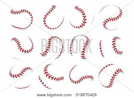 Baseball Ball Lace. Spherical Softball Realistic 3d Red Stroke Lines For Sport Logos And Banners. Ve