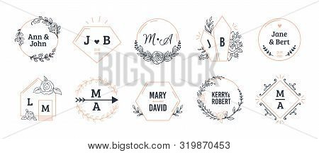 Wedding Monograms. Bohemian Hand Drawn Floral And Polygonal Elements For Invitation And Greeting Car