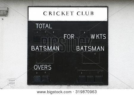 Cricket Club Score Board Blank Batsman And Wickets