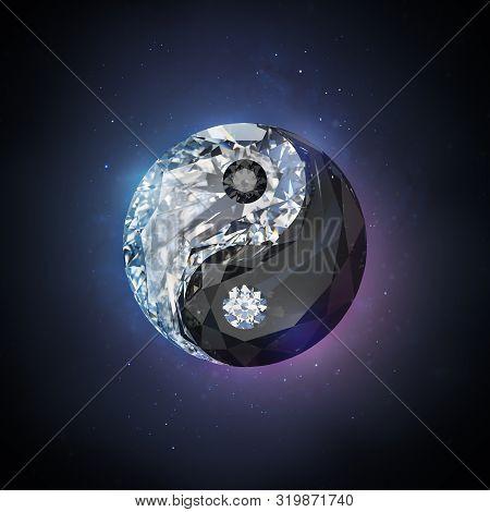 Diamond Yin Yang. 3d Image. Black Space Background