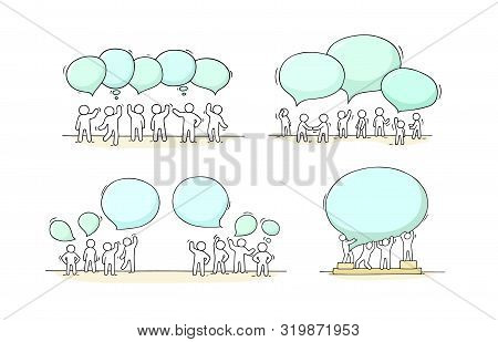 Crowd Of Working Little People With Speech Bubbles. Doodle Cute Miniature Scenes With Empty Messages