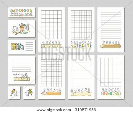 Collection Of Cute Notes For Cards, Stickers, Tags With People. Template For Wrapping, Notebooks, Di