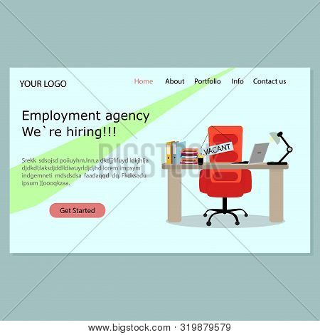 Employment Agency Landing Page. We Hiring. Homepage Recruiting Company For Seek Employees. Suggest V