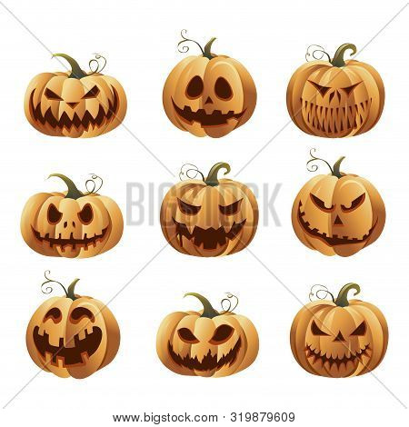 Halloweens Pumpkins Set. Symbol Mascots For Scary Autumn Holiday Halloween, Awful Grimace Pumpkins.