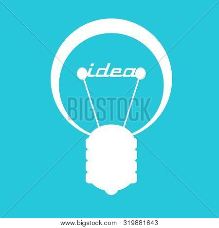 Lamp Icon. Illustration Of Brainwork, Idea Appearance. Switch On Bulb Icon With Idea Text.