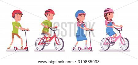 Boy, Girl Child 7 To 9 Years Old, School Age Kid Riding A Kick Scooter, Bike. Active Fun And Outdoor