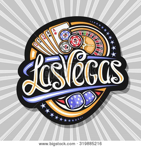Vector Logo For Las Vegas, Dark Decorative Tag With Illustration Of Four Kind Aces And Roulette, Sig