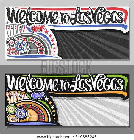 Vector Vouchers For Las Vegas With Copy Space, Decorative Sign Board With Illustration Of Four Kind