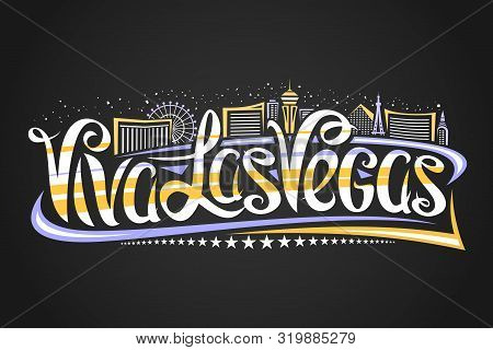 Vector Logo For Las Vegas, Decorative Outline Illustration With Abstract Architecture Eiffel Tower A