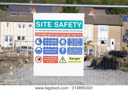 Site Safety Sign On Construction Building Area Fence