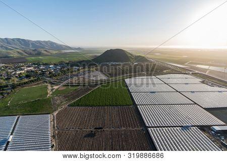 Aerial view of coastal farm fields between the Santa Monica Mountains and Camarillo in scenic Ventura County, California.