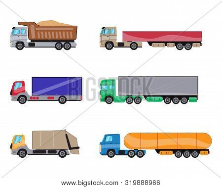 Trailer Trucks Side View Icon Set Isolated On White. Commercial Lorry Truck With Container, Dump Tru