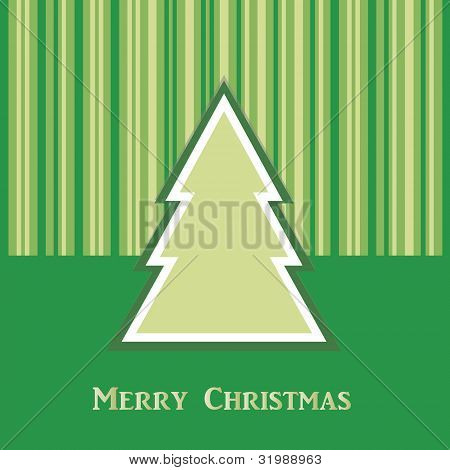 Green Christmas Card With Tree