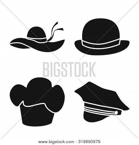 Vector Design Of Beanie And Beret Symbol. Set Of Beanie And Napper Stock Symbol For Web.