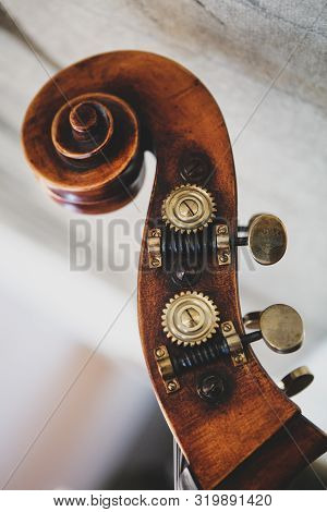 Details With The Scroll, Peg Box, Nuts, Machine Heads, Tuning Keys And Tuners (the Headstock) Of A D