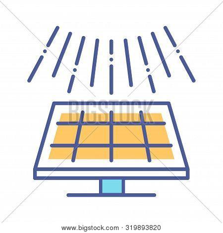 Solar Panel Line Color Icon. Green Technology Sign. Alternative Energy Vector Pictogram. Photovoltai