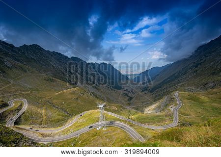 Transfagarasan Winding Road In Mountains Of Romania