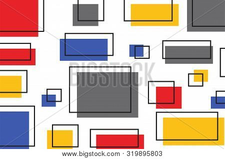 Geometric Colored Square With Stroke Pattern. Abstract Repeat Background. Abstract Squares Backgroun