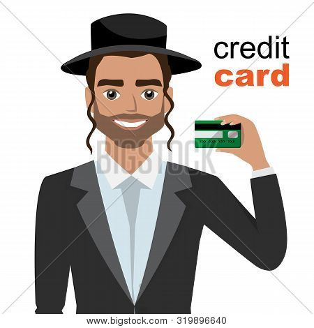 Young Jew Man Smiling, Showing, Presenting Credit Card For Making Paymen.