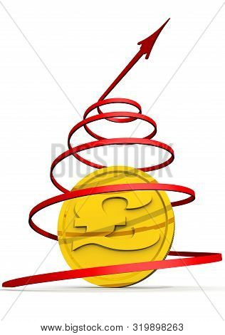 The Growth Of The Pound Sterling Currency. Red Arrow Twisted Into A Helix And Golden Coin With The S