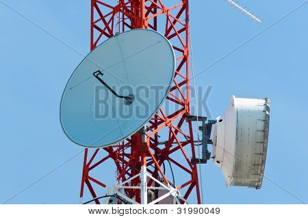 Microwave Dishes On Telecommunication Tower
