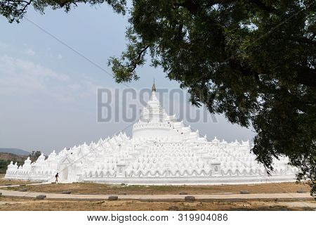 Female Silhouette Walking Towards Myatheindan Pagoda In Mandalay, Myanmar