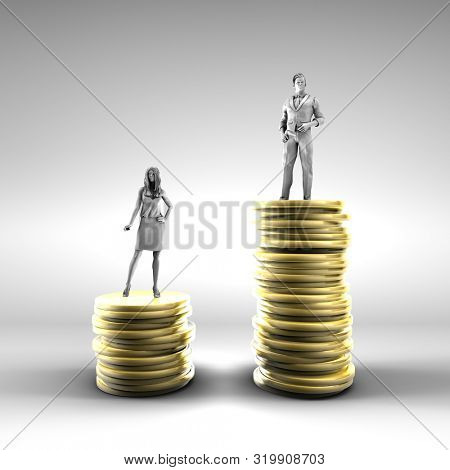 Gender Pay Gap with Woman Being Paid Less 3d Render