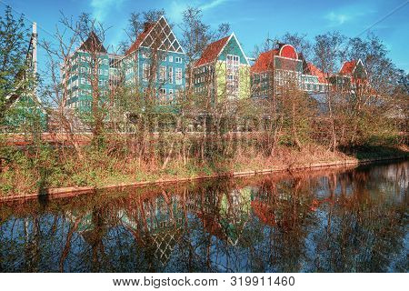 Zaandam, The Netherlands, April 18, 2019: The Rear Of The Town Hall Of Zaandam, Built In The Typical