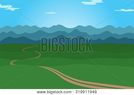 Mountain Ridge And Path. Cartoon Landscape. Vector Illustration.