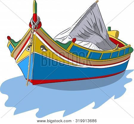 Vector Illustration Of A Traditional Wooden Fishing Boat Luzzu In The Bay Of The Village Marsaxlokk.