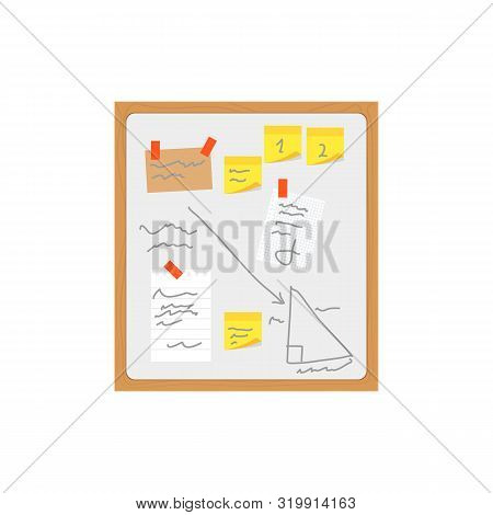 Cartoon Color Office Wall Board Pin Note And Reminder Concept Flat Design Style. Vector Illustration