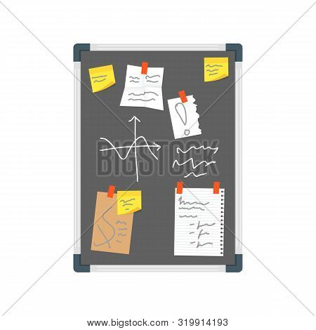 Cartoon Color Office Wall Black Board Pin Note And Reminder Concept Flat Design Style. Vector Illust