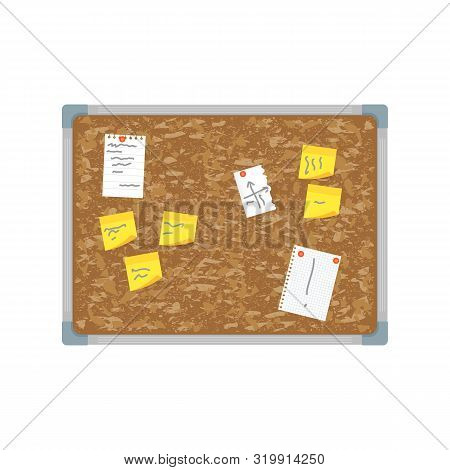 Cartoon Color Office Wall Brown Board Pin Note And Reminder Concept Flat Design Style. Vector Illust
