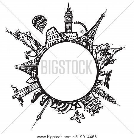 Famous World Landmarks Located Around The Globe Isolated On White Background. Black And White Design