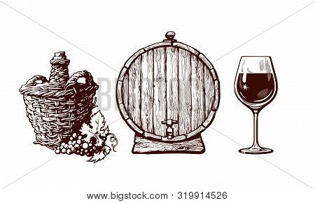 Set Of Hand Drawn Elements For Wine Design. Demijohn Bottle With Bunch Of Grapes, Old Wooden Barrel