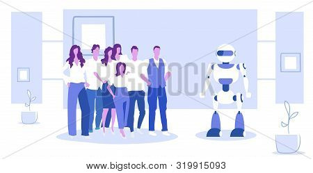 Businesspeople Group Standing With Robot Artificial Intelligence Concept Business People At Meeting