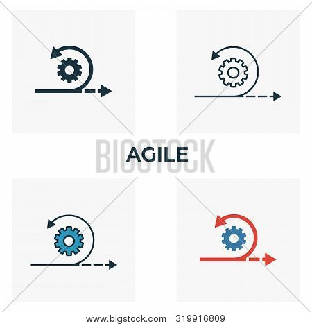 Agile Icon Set. Four Elements In Diferent Styles From Content Icons Collection. Creative Agile Icons