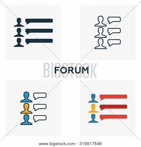 Forum Icon Set. Four Elements In Diferent Styles From Content Icons Collection. Creative Forum Icons