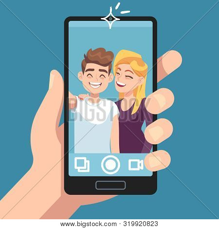 Couple Selfie. Young Friends Make Romantic Selfie Portrait With Smartphone, Man With Woman Take Phot