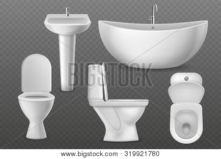 Realistic Bathroom Objects. White Collection Bathtub, Toilet Seat And Washbasin With Faucet. Bathroo