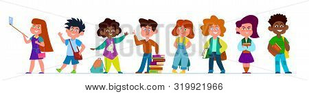 School Children. Multiethnic Boys And Girls In Casual Clothes. Kids With Backpacks And Books In Scho