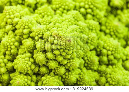 Natural Food Background - Texture Of Fresh Romanesco Broccoli Cabbagehead Close-up