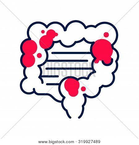 Indigestion Line Color Icon. Stomachache. Allergy Symptom: Diarrhea, Bloating, Nausea, Pain. Abdomin