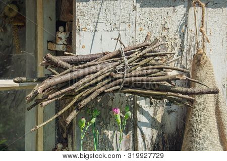 Kindling Wood Hanging Up To Dry In The Sunshine