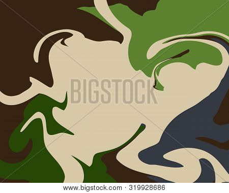The Style Of Ebru. Green, Gray And Blue Colors. Hand Drawn Vector Background. Fashionable Print For