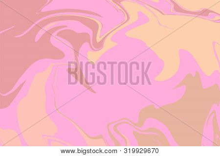 The Style Of Ebru. Beige, Brown And Pink Colors. Hand Drawn Vector Background. Fashionable Print For