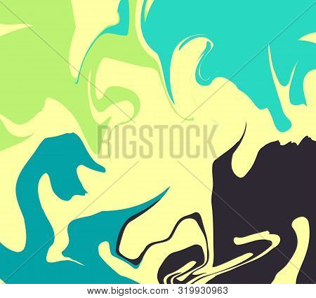 The Style Of Ebru. Green, Blue And Yellow Colors. Hand Drawn Vector Background. Fashionable Print Fo
