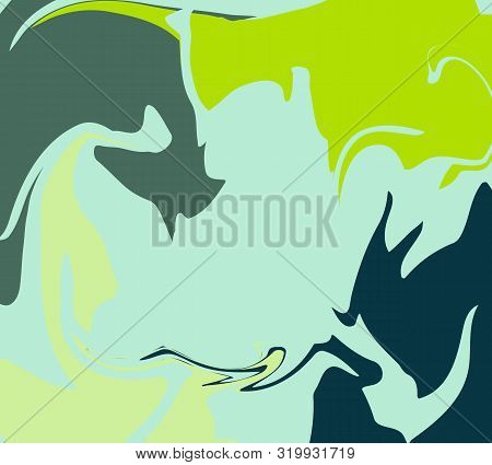 The Style Of Ebru. Green, Blue And Gray Colors. Hand Drawn Vector Background. Fashionable Print For